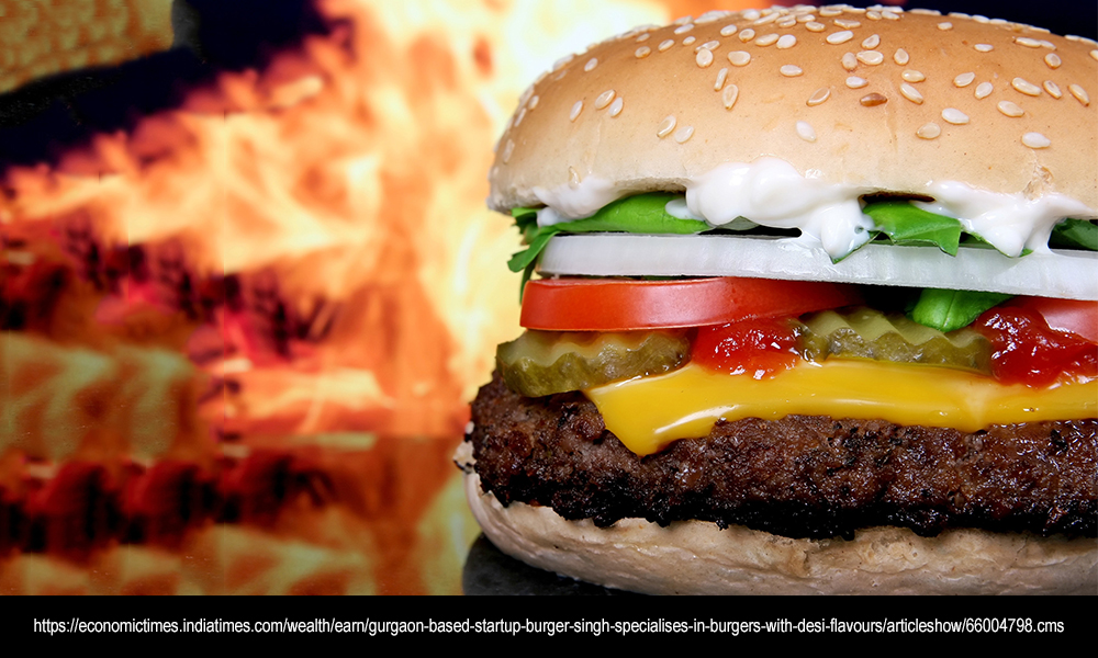 Gurgaon-based startup Burger Singh specialises in burgers with desi flavours